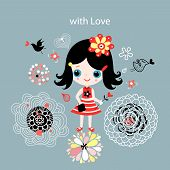 cute beauty graphic girls with female design vector