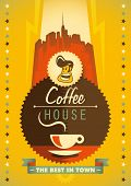 Retro coffee poster design. Vector illustration.