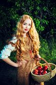 Beautiful young woman with magnificent blonde hair standing outdoor with a basket with apples. Count