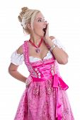 Amazed Beautiful Isolated Bavarian Woman Wearing Pink Traditional Dress.