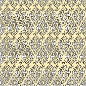 Seamless pattern with abstract damask doodle ornament