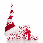 Santa's Hat With Red And White Gift Box, Isolated On White Background.