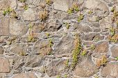 stock photo of stonewalled  - Antique natural stonewall old stones in different sizes - JPG