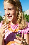 Grasshopper And Happy Girl
