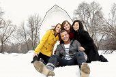 Young People Having Fun in Winter