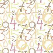 Seamless pattern with hand drawn painted numbers
