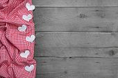 Red And White Checkered Frame With Hearts On Rustic Wooden Background - Greeting Card For Valentine,