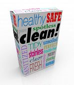 Clean word on product box or package advertising benefits like healthy, safe, spotlight, pure, tidy,