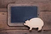 Menu Board With Pink Pig On Wooden Background For New Year, Sylvester, Birthday Or For A Butcher - T