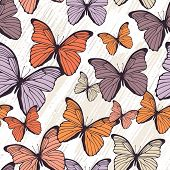 Seamless pattern with hand drawn outline butterflies