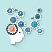 Illustration Head With Gears.Concept with Icons Set Of Creative Thinking Business