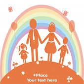 Happy Family And Rainbow. Vector Illustration