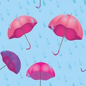 Seamless Texture For Rainy Weather With Umbrella