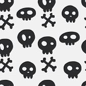 stock photo of skull cross bones  - Halloween seamless pattern with hand drawn doodle skulls and crossed bones - JPG