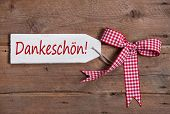 Thank You Greeting Card With A Red White Rustic Checkered Ribbon In Country Or Shabby Chic Style On