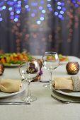 Table setting in restaurant