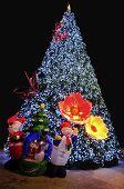 Christmas Tree With Santa And Snowman