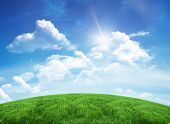 Green hill under blue sky with copy space