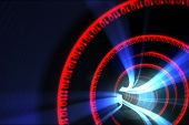 Digitally generated Red binary code spiral with blue light