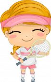 Illustration of a Girl Dressed in Tennis Gear
