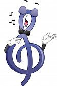 Illustration Featuring a G-Clef Belting Out a Tune