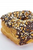 chocolate and almond croissant and doughnut