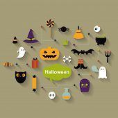 picture of vampire bat  - Set of halloween  icons - JPG