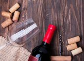 Wine Corks And Bottle Of Wine