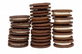 Chocolate Biscuits in Three Piles