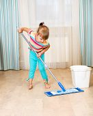 Kid Girl With Mop