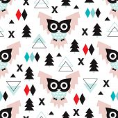 Seamless geometric vintage pastel owl woodland illustration background pattern in vector