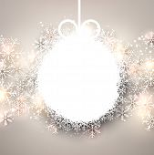 Winter background. Glowing snowflakes. Christmas ball. Vector.