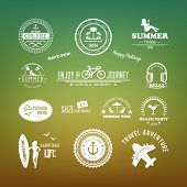 Retro Design Elements Summer Holidays Vector Set. Vintage Ornaments And Labels