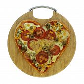 Vegetarian pizza in the shape of heart