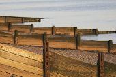 Wooden breakwaters on beach