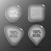 100% natural. Glass buttons. Vector illustration.