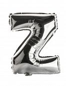 Chrome silver balloon font part of full set upper case letters, Z