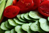 Sliced ??cucumbers And Tomatoes