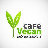 Vegan Cafe Vector Concept Symbol Icon or Logo Template