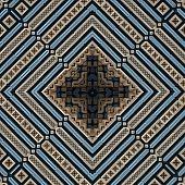 3D Blue Beige Rhomb Pattern