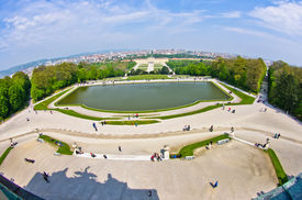 pic of schoenbrunn  - Cityscape telephoto view of Vienna from Gloriette at Schoenbrunn palace - JPG