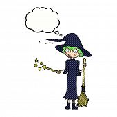 cartoon witch casting spell with thought bubble