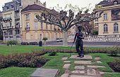 Promenade And Bronze Statue Of Charlie Chaplin In Vevey, Switzerland.