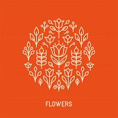 Vector Line Logo With Flowers