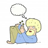 cartoon hippie man with thought bubble