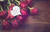 Vintage Red Roses Gift For Valentines Day, Birthday Or Special Occasion On Recycled Distressed Natur