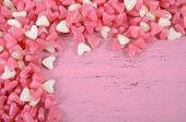 Pink And White Heart Shape Jelly Candy Confectionary On Pink Wood Background With Copy Space For You