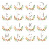 Hand Drawn Monogram Wreath Table Card A To P