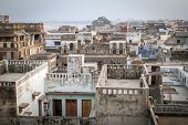Top view of Varanasi city rooftop and houses