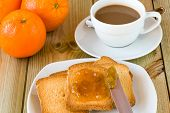 Breakfast Time: Cup Of Milky Coffee, Rusks And Orange Jam